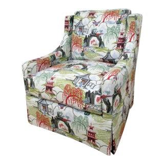 Modern Style Asian Print Chair For Sale