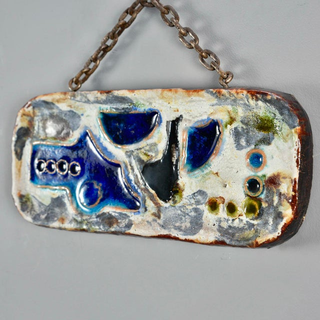 Metal German Mid Century Hanging Ceramic Plaque Wall Art For Sale - Image 7 of 10