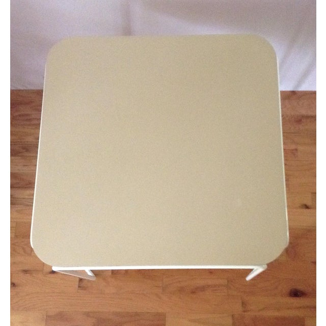 Vintage Mid-Century Card Dinette Table Powder-Coat Hairpin Legs Off White Formica Top For Sale - Image 9 of 11