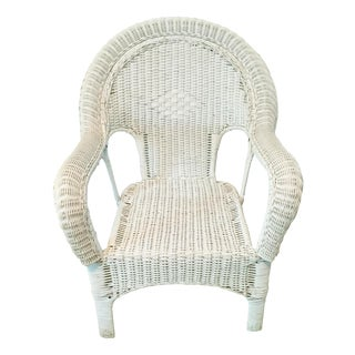 Vintage Wicker Fan Back Armchair For Sale