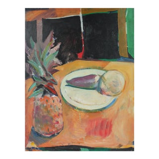 """""""Turnip"""" Still Life With Pineapple, Oil Painting, 1973"""