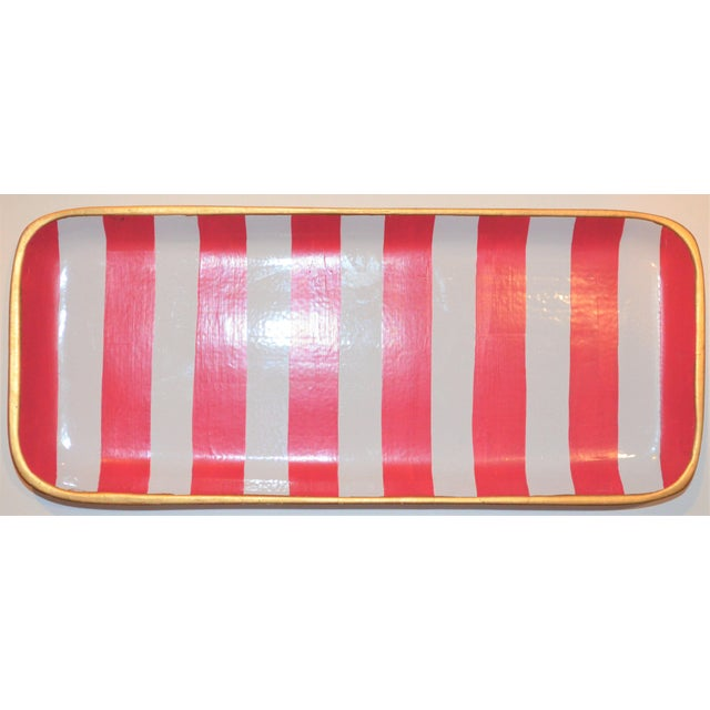 Dana Gibson Melon and White Striped Trinket Tray For Sale - Image 10 of 13