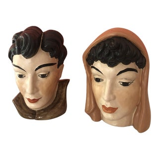 Mid Century Royal Haeger Busts- a Pair For Sale