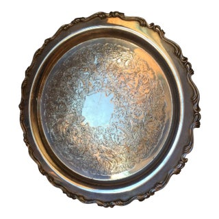 1960s Oneida Silverplate Serving Round Tray For Sale