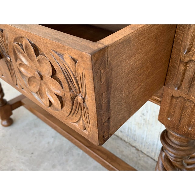 Spanish Baroque Carved Walnut Console Table With Two Drawers, Circa 1860 For Sale - Image 10 of 13