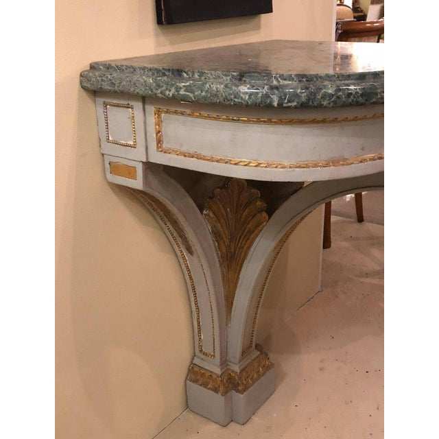 Hollywood Regency Painted and Marble Demilune Consoles - a Pair For Sale - Image 9 of 12