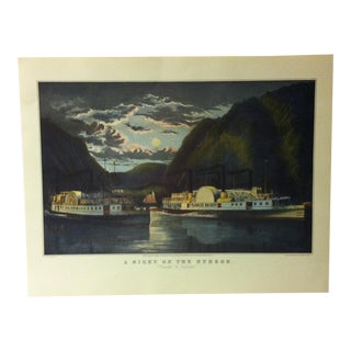 "Currier & Ives American Print, ""A Night on the Hudson"" by Crown Publishers, Circa 1950 For Sale"