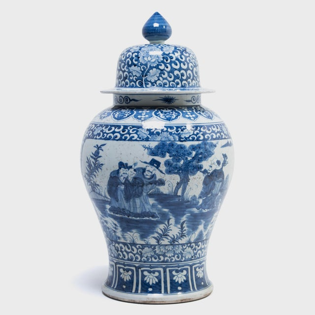 Ceramic Blue and White Ginger Jar With Landscape Portraits For Sale - Image 7 of 7
