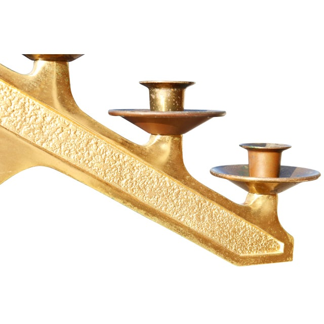 Mid 20th Century Free Standing Seven Branch Floor Menorah - a Pair For Sale - Image 5 of 7