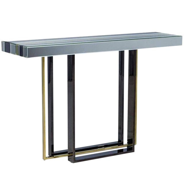 1970s Mid-Century Modern Tri Color Striped Mirror Console Table For Sale
