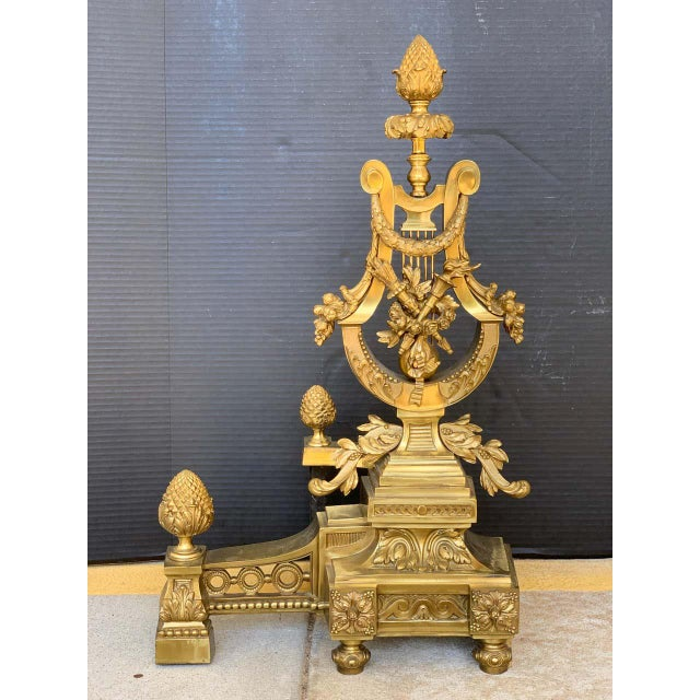 Metal Gorgeous Pair of Louis XVI Style Gilt Bronze Lyre Motif Chenets, Large Scale For Sale - Image 7 of 13