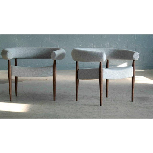 Mid-Century Modern Pair of Nanna Ditzel Ring Chairs in Walnut and Wool for Getama, Denmark For Sale - Image 3 of 9