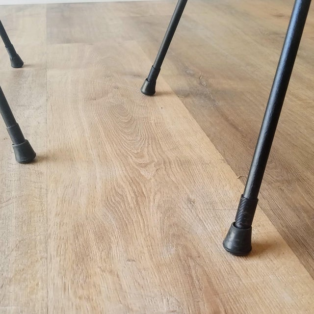 Black Newly Uphostered Mid-Century Modern Iron Counter Stools - a Pair For Sale - Image 8 of 10