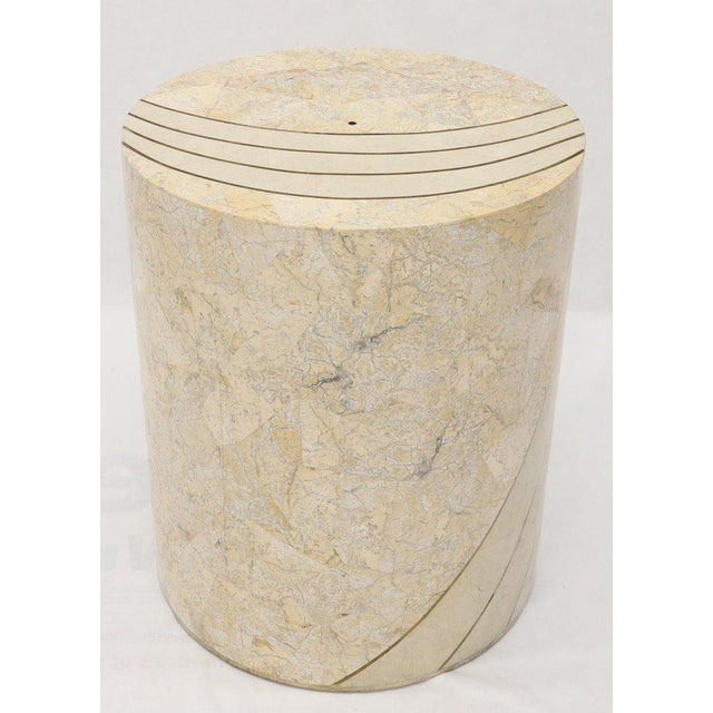 Large Cylinder Tessellated Stone Veneer Brass Inlay Dining Table Base Pedestal For Sale - Image 13 of 13