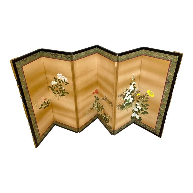 19th Century Japanese Byobu 6-Panel Table Screen With Summer Flowers For Sale