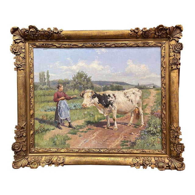 19th Century French Oil on Canvas Cow Painting in Carved Frame Signed Gregoire For Sale