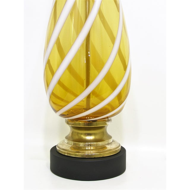 Italian Amber and White Striped Murano Glass Table Lamp Mid-Century Modern MCM For Sale In Miami - Image 6 of 11