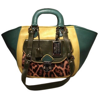 Dolce and Gabbana Green Color Block Miss Catch Large Lock Tote For Sale