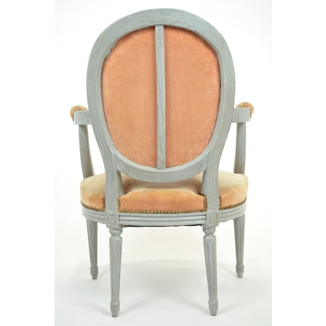 Louis XVI Gray-Blue Frame Armchairs - A Pair - Image 5 of 10