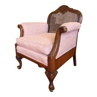 Vintage Cane Back Arm Chair with Pink Plaid Upholstery