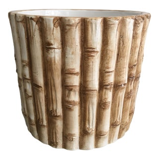 1970's Italian Faux Bamboo Ceramic Cachepot For Sale