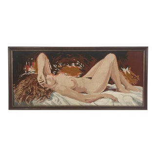 1970s Vintage Framed Reclining Female Nude Needlepoint Textile Art For Sale