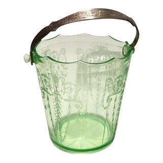 1930s Vintage Cambridge Cleo Etch Glass Ice Bucket For Sale