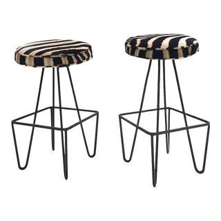 Fredrick Weinberg Stools Upholstered in Genuine Zebra Hide - Atomic Barstools - a Pair