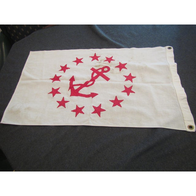 Vintage Rear Commodore Anchor Star Yachting Flag For Sale - Image 5 of 6