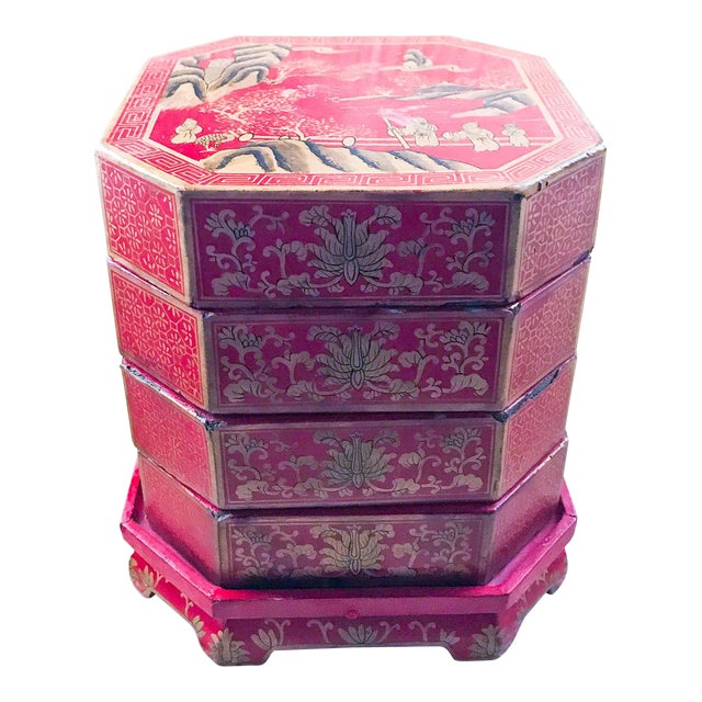 Mid Century Stacked Wood Asian Boxes - Image 1 of 9