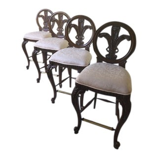 Traditional Style Walnut Bar Stools - Set of 4 For Sale