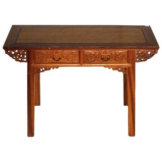 Antique Desk With Carved Frieze and Two Drawers From 19th Century, China For Sale