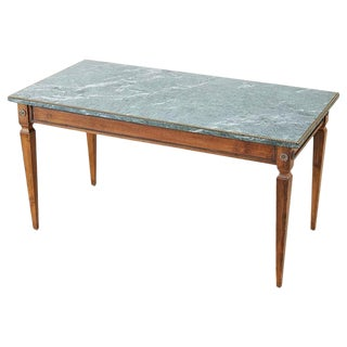 French Neoclassical Mahogany Marble-Top Cocktail Table For Sale