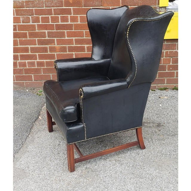 Vintage Hickory Chair Co. Black Vinyl Upholstered English Style Wingback Library Armchair C1960s For Sale In New York - Image 6 of 9