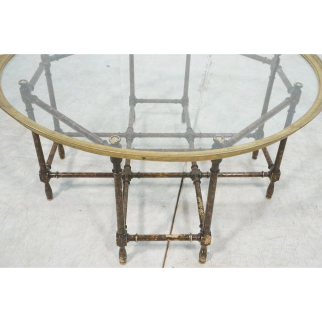 Baker Brass & Glass Tray Top Faux Wood Bamboo Coffee Table, Circa 1960 - Image 7 of 9