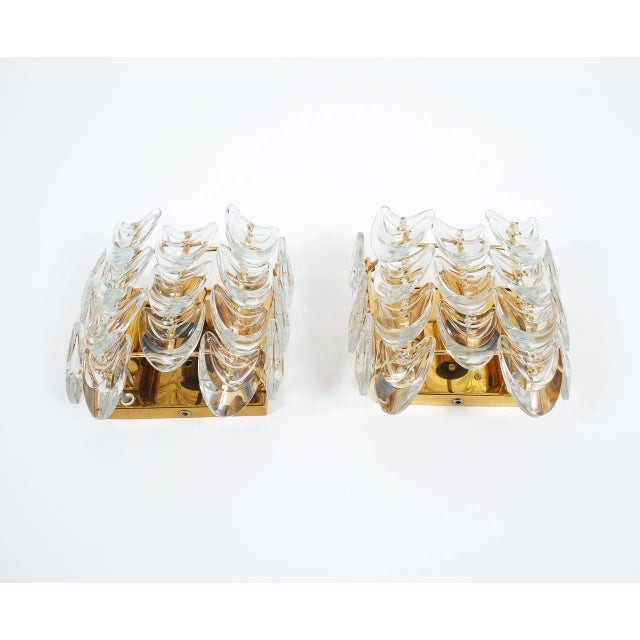 Palwa Pair of Gilded Brass and Glass Sconces by Palwa For Sale - Image 4 of 6