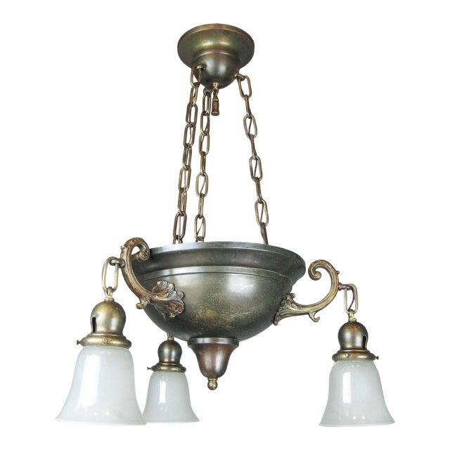 Original Arts & Crafts Bowl Light Fixture For Sale