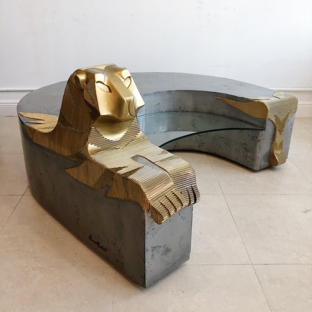 Mid-Century Modern Vintage Sculptural Tiger Large Oversized Bench Coffee Table by Anne Herbst (1923-2007) For Sale - Image 3 of 11