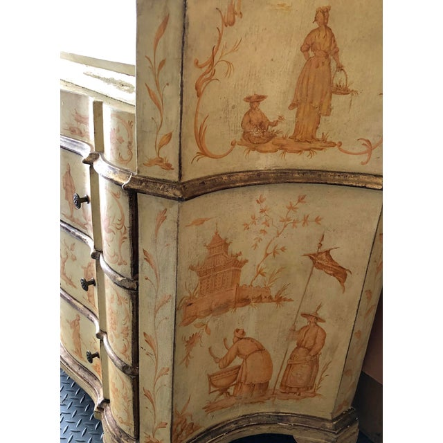 19th C. Italian Hand Painted Secretary Bookcase With Chinoiserie Decor For Sale - Image 10 of 11