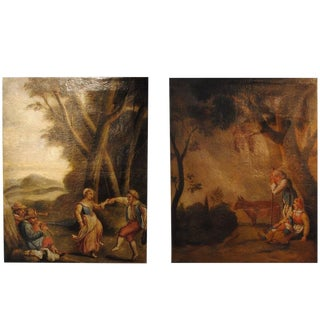 Pair of 18th Century French Pastoral Oil Paintings