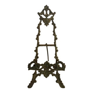 Antique Brass Easel Style Picture Frame For Sale