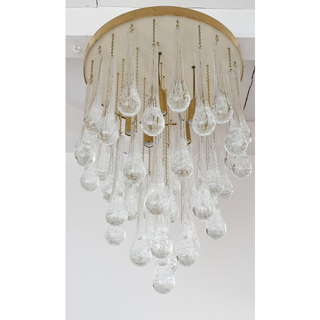 Contemporary Mid Century Modern Brass & Murano Glass Drops Flush Mount Ceiling Light, Customizable For Sale - Image 3 of 13