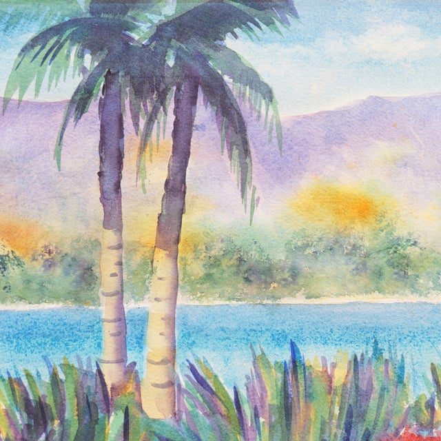 Modern 'Tropical Lagoon' by B. Metcalf, Impressionist Landscape With Palm Trees and Bougainvillea For Sale - Image 3 of 7