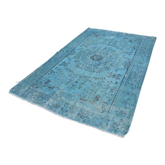 """Turkish Oushak Turquoise Rug - 6' x 8'9"""" - Image 1 of 6"""