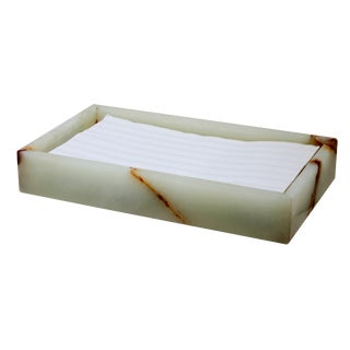 White Marble Guest Towel Tray For Sale