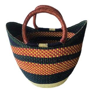 Bolga Ghana Green & Orange Yikene Woven Basket For Sale