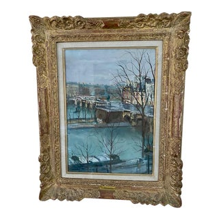 Parisian City Scape, Signed Oil by Serge Belloni 1962, Framed For Sale