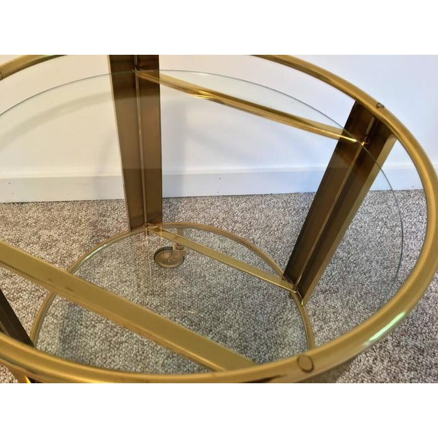 Italian Modernist Design Round Polished Brass Bar Cart - Image 8 of 9
