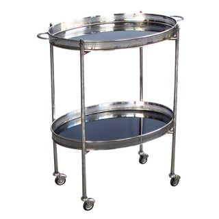 An Elegant French Mid-Century Nickel-Plated Oval-Form Drinks/Bar Cart With Black Glass Trays For Sale
