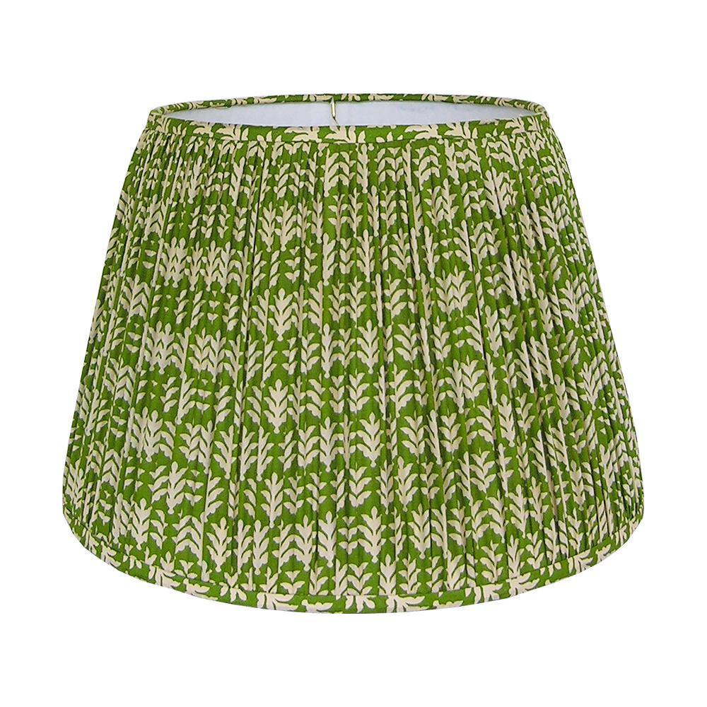 Large Green Cotton Print Gathered Lamp Shade